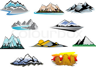 Set of mountain symbols for majestic design