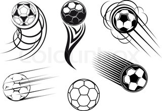 Football and soccer symbols, mascots and emblems for sports design