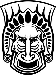 Ancient tribal religious mask isolated on white