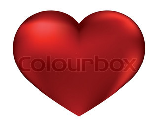 The isolated red heart on a white background by day of sacred Valentine