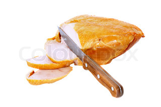 Slice on smoked chiken with knife . Isolated over white.