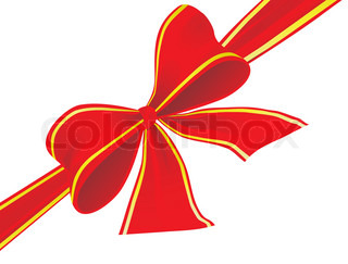 Big bow of red ribbon. Vector illustration