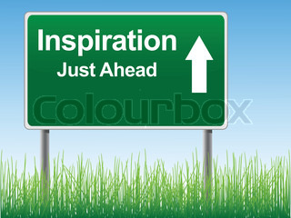 Inspiration road sign on the sky background, grass underneath. Vector EPS format.