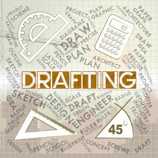 Drafting words meaning outline houses and blueprint stock photo drafting words represents blueprint plan and design malvernweather Images