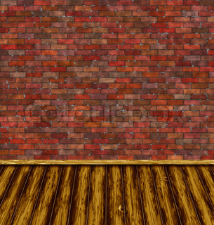 Abstract generated vintage room with brick wall and wooden floor
