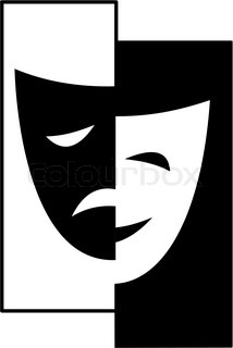 Theatrical masks - isolated vector illustration character Theater - Tragedy and Comedy