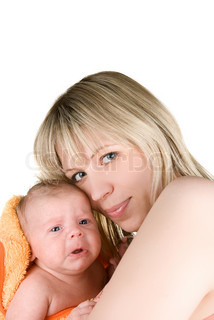 happy mother with baby boy isolated on a white