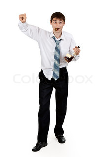 drunk businessman with a bottle of cognac on a white background