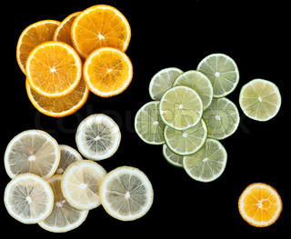 lemon lime orange slices on a black background