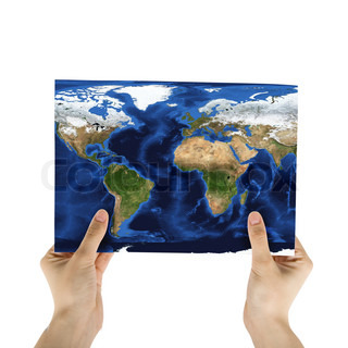Hand holding a world paper map isolated on a white