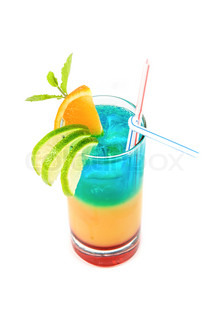 Alcoholic cocktail with lime, orange and mint decorated  isolated on white background