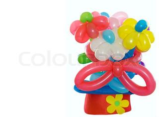 Ballons Blumen in einen Clown-Hut