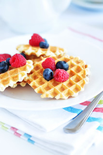 Belgian waffles with berry