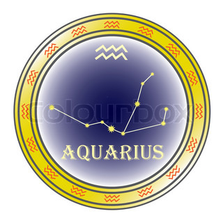 zodiac sign aquarius in the circle on the white background
