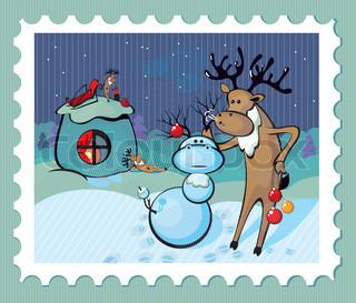 Santa's reindeer resting on a halt and mold snowman