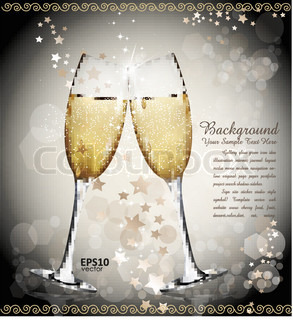 New Year  vector background with two glasses of wine, the stars