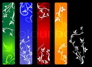 Vertical banners with flowers isolated on background