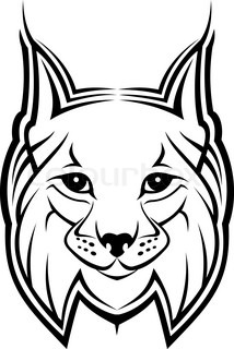 Head of lynx as a mascot isolated on white