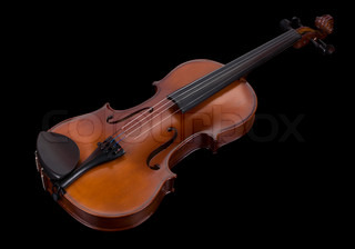 classic violin isolated on a black background