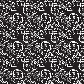 Vector of 'outline, floral, black'