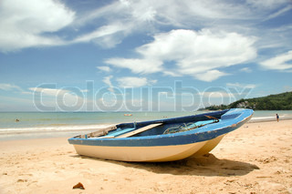Boat is lying on the beach