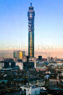 view BT telecommunications tower in London in winter evening