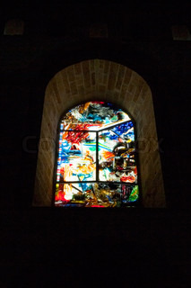 painted windows in The Cathedral-Basilica of Cefalu, Sicily, Italy