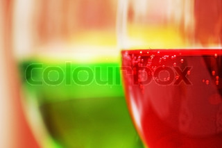 Red and green cocktails with shallow depth of field