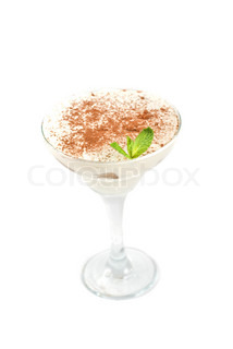Classic italian dessert- tiramisu with mascarpone cheese, cookies and liqueur