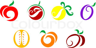 Set of  fruits nd vegetables icons isolated on white