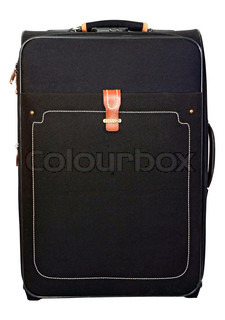 black suitcase for trips and rest isolated on white background