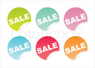 set of 6 colorful sale stickers