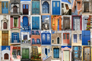 Colorful Greek doors collection compilation