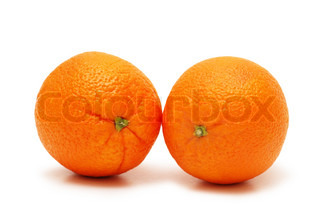 Two oranges isolated on  the white background