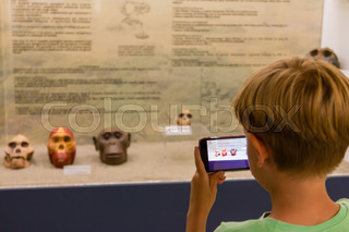 child taking skull primate photography at museum