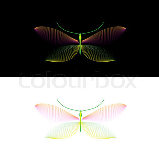 Set Rainbow colored dragonfly in vector format
