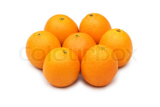 Group of oranges isolated on the white