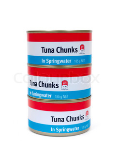 Cans of Tuna isolated against a white background
