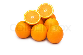 Pile of oranges isolated on the white