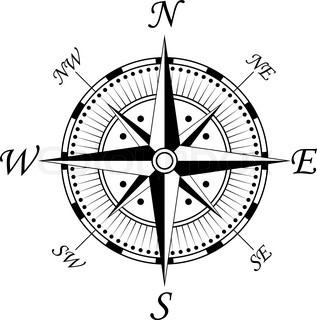 Kompass-Symbol auf weißem für Design isoliert