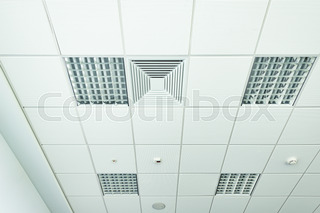Office Ceiling With LED Fixtures