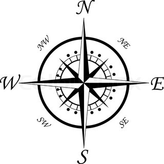 Compass symbol isoleret på hvidt for design