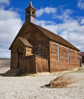 Old wooden church in Bodie, ghost town in the Bodie Hills