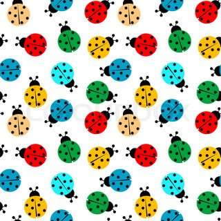 ladybugs in colors seamless pattern, abstract texture; art illustration