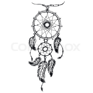 Ethnic Dream Catcher With Feathers American Indian Style Isolated