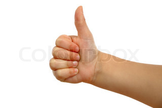 Small hand showing thumb up