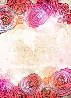 Vintage card with a flower. vector rose flower background