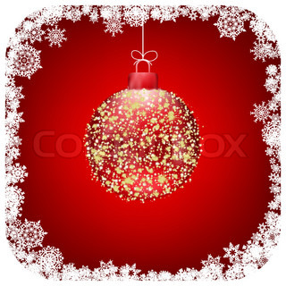 Stock vector beautiful christmas red ball illustration christmas card. EPS 8 vector file included