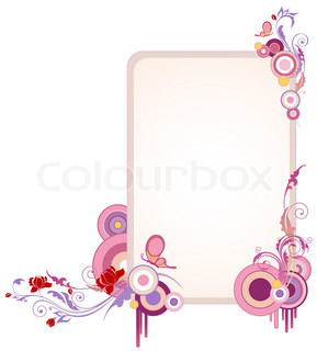 vertical colored banner with floral ornament and butterfly