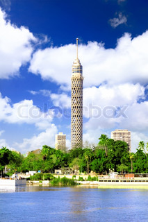 Cairo TV Tower on seafront of Nile. Egypt.